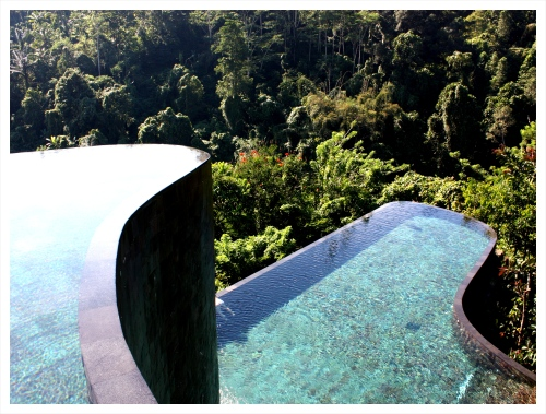 Double infinity pool at The Hanging Gardens outside Ubud.