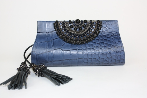Black Beaded Croc Print Leather Clutch in Midnight Blue