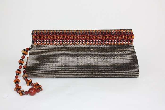 Carnelian Beaded Thai Silk Evening Clutch