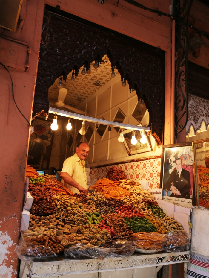 Sweets merchant in the Marrakech souk.