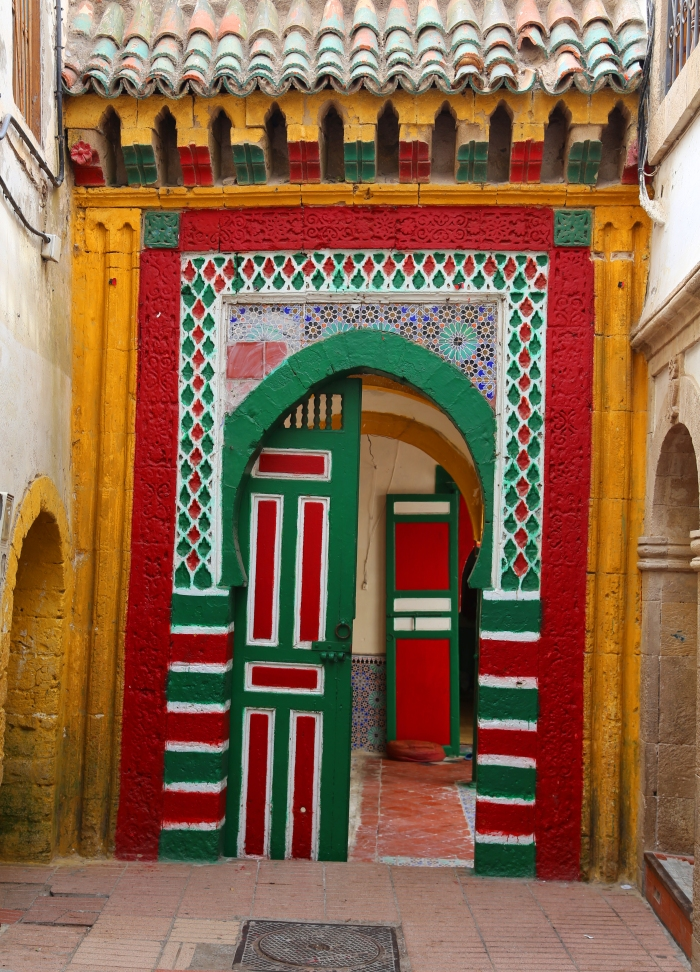 Colorful doorway in Essaouira.
