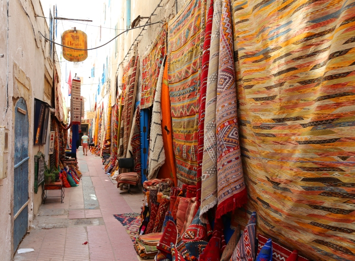 Rugs for sale in Essaouira.