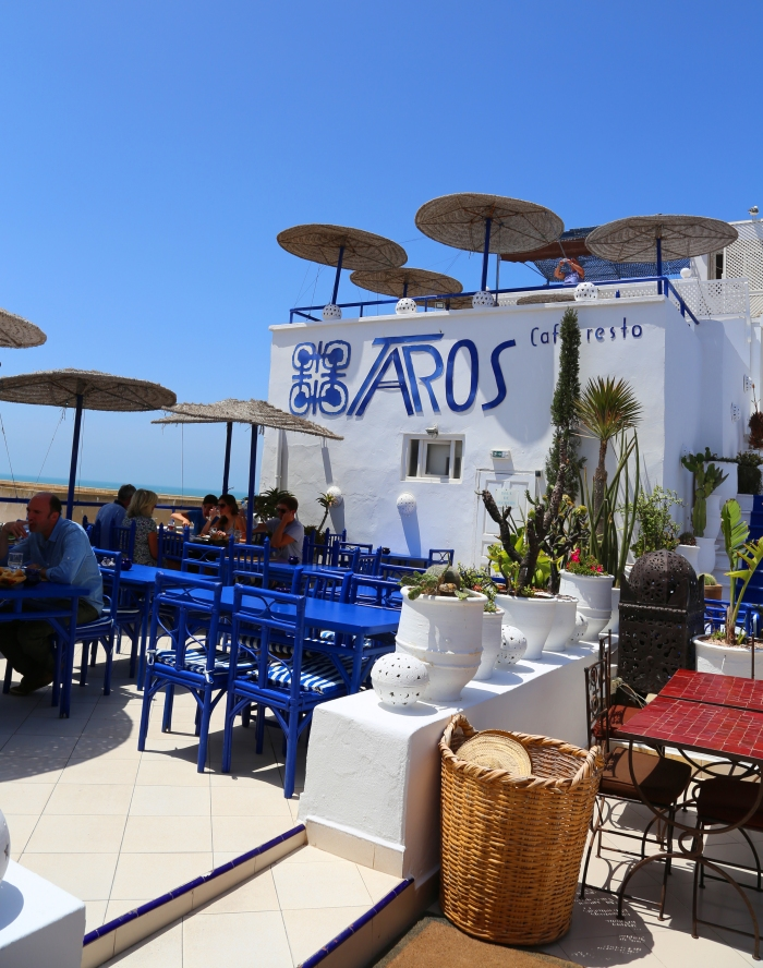 The colorful Taros restaurant overlooking the ocean in Essaouira.